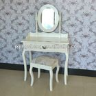 French shabby chic finish white wood dressing table antique vanity table make-up table mirror stool